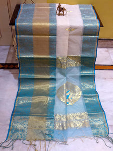 Skirt Border Traditional Bengal Tussar Silk Saree in Off White and Blue