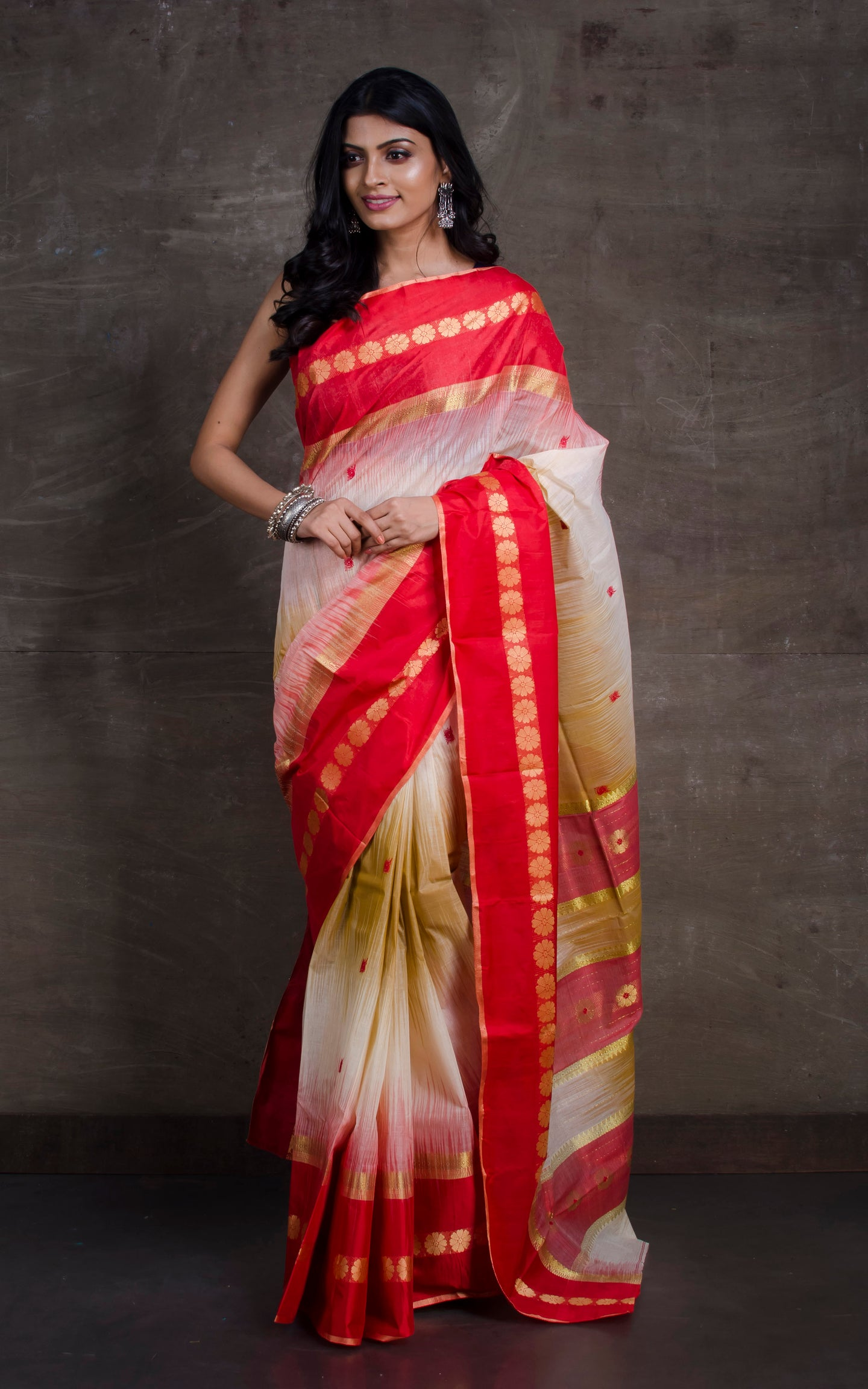 Mahapar Traditional Bengal Tussar Silk Saree in Beige and Red