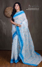 Bengal Handloom Cotton Saree with Embroidery Work in White and Azure