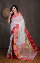 Bengal Handloom Tanchui Work  Patli Pallu Saree in White, Red and Gold from Bengal Looms India