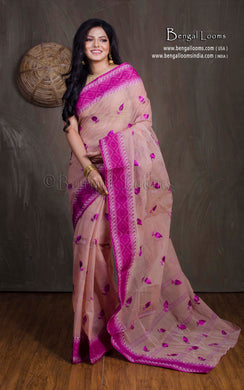 Bengal Handloom Cotton Saree with Embroidery Work in Lemonade and Purple
