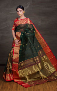 Bengal Handloom Tanchui Work  Patli Pallu Saree in Black, Red and Gold from Bengal Looms India