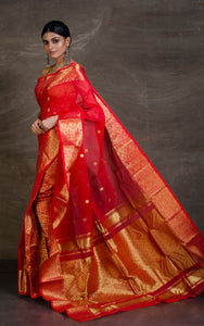 Bengal Handloom Tanchui Work  Patli Pallu Saree in Vermilion Red and Gold from Bengal Looms India