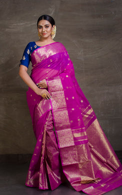 Bengal Handloom Tanchui Work  Patli Pallu Saree in Magenta and Gold from Bengal Looms India