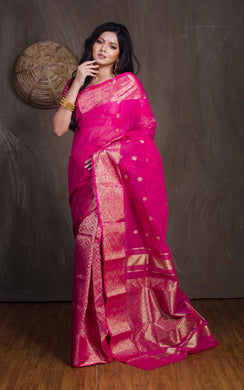 Bengal Handloom Tanchui Work  Patli Pallu Saree in Hot Pink and Gold from Bengal Looms India