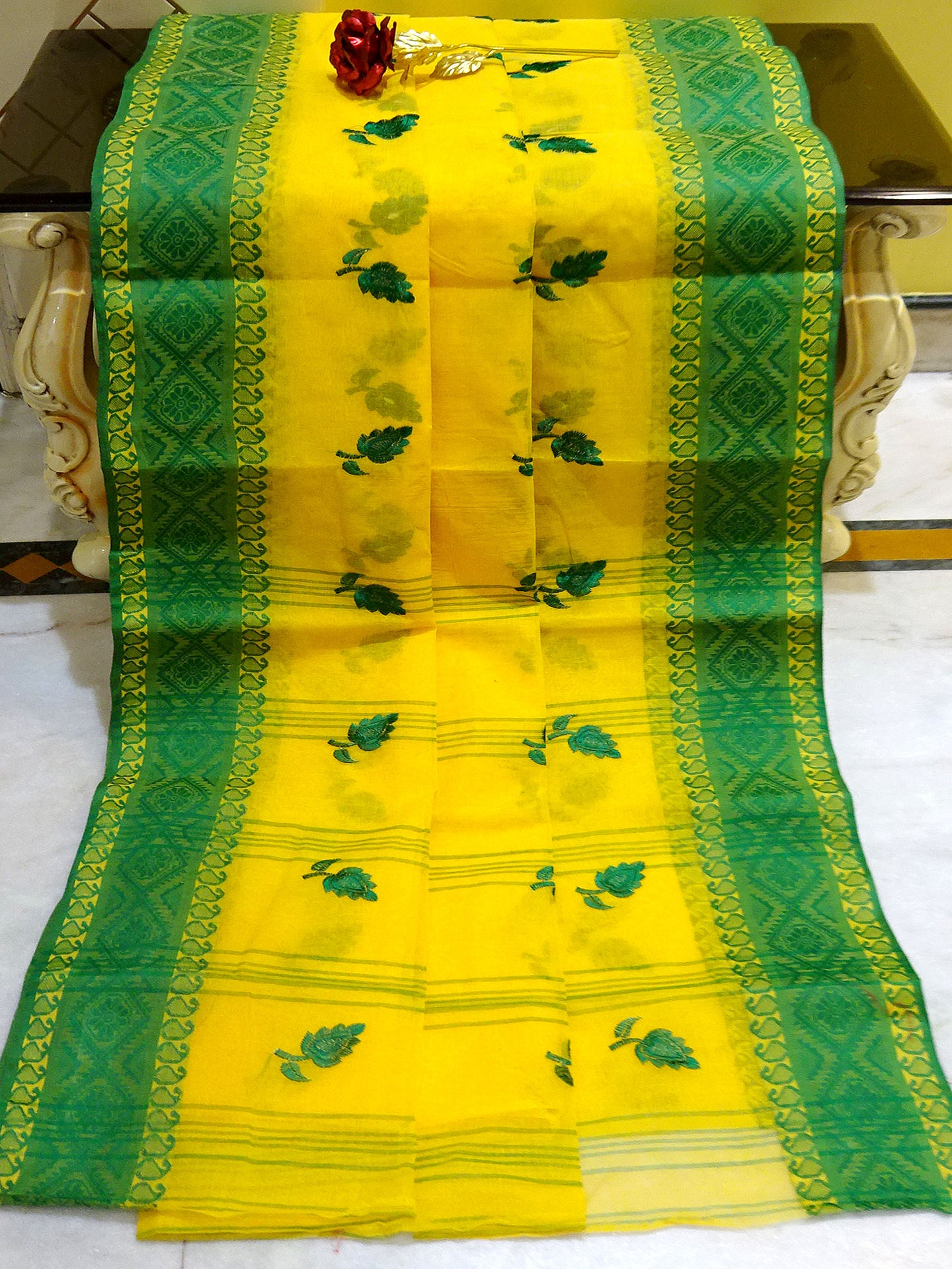 Bengal Handloom Cotton Saree with Embroidery Work in Bright Yellow and Green