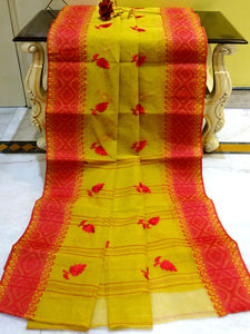Bengal Handloom Cotton Saree with Embroidery Work in Amber Yellow and Red - Bengal Looms India