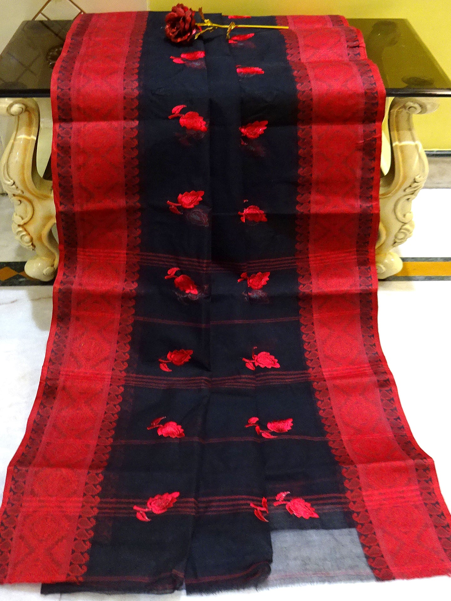Bengal Handloom Cotton Saree with Embroidery Work in Black and Red from Bengal Looms India