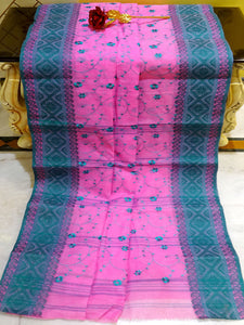 Bengal Handloom Cotton Saree with Embroidery Work in Pink and Deep Teal