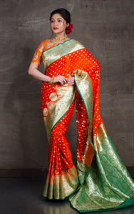 Traditional Semi Katan Makhi Buti Banarasi Saree in Orange and Rama Green