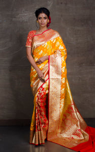 Traditional Semi Katan Patli Pallu Banarasi Saree in Golden Yellow and Red