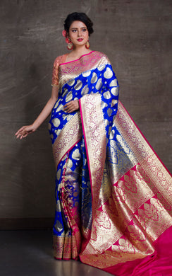 Traditional Semi Katan Patli Pallu Banarasi Saree in Cobalt Blue and Hot Pink