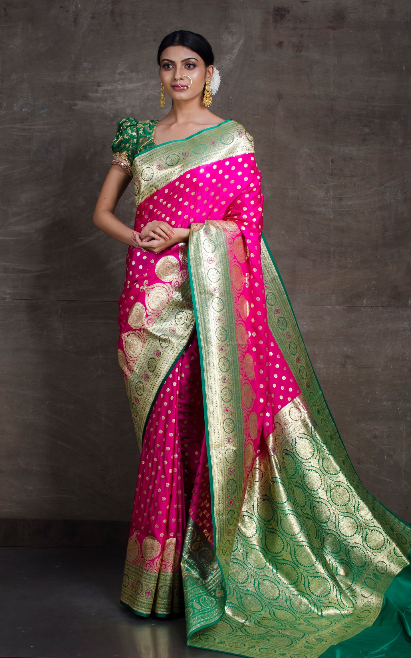 Traditional Semi Katan Makhi Buti Banarasi Saree in Dark Pink and Green