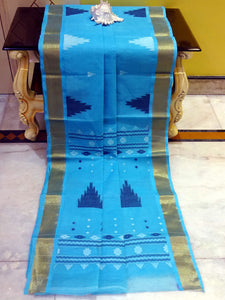 Hand Woven Cotton Dhakai Jamdani Saree in Sky Blue, Navy Blue and Off White