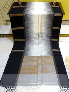 Kotki Border Soft Cotton Khadi Saree in White and Black