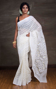 Dhakai Jamdani Saree in Off White and Gold from Bengal Looms India