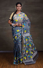 Dhakai Jamdani Saree in Grey - Bengal Looms India