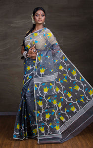 Dhakai Jamdani Saree in Grey from Bengal Looms India