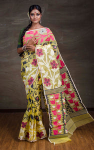 Dhakai Jamdani Saree in Chrome Yellow from Bengal Looms India
