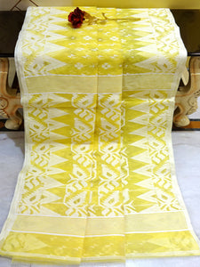 Handwoven Jamdani Saree in Yellow and White from Bengal Looms India