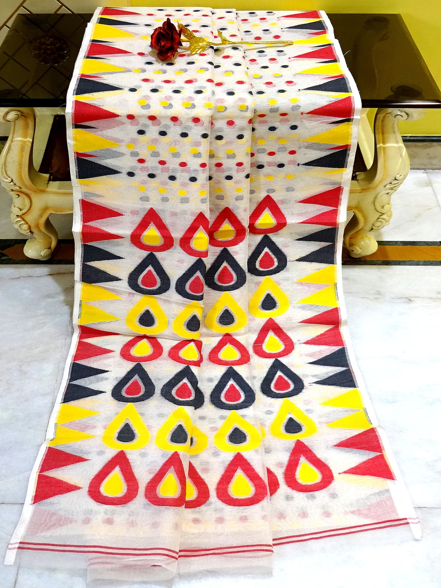 Dhakai Jamdani Saree in White,Black,Red and Yellow from Bengal Looms India