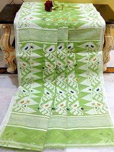 Handwoven Jamdani Saree in Olive Green and White from Bengal Looms India