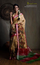 Pure Handloom Digital Printed Linen Saree in Beige and Maroon from Bengal Looms India