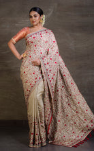 Kashmiri Embroidery Work Designer Saree in Birch Wood and Scarlet Red from Bengal Looms India