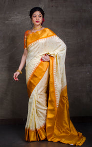 Exclusive Gadwal Silk Saree in Off white and Mustard Golden