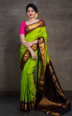 Exclusive Gadwal Silk Saree in Lime Green and Snuff Brown