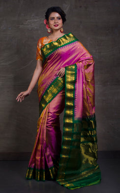 Exclusive Gadwal Silk Saree in Sandalwood and Dark Green