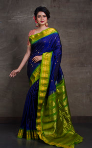 Exclusive Gadwal Silk Saree in Royal Blue and Green