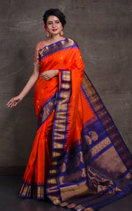 Exclusive Gadwal Silk Saree in Orange and Navy Blue