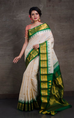 Exclusive Gadwal Seiko Silk Saree in Off White and Green