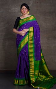 Exclusive Gadwal Seiko Silk Saree in Purple and Green