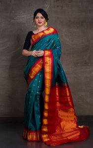 Exclusive Gadwal Silk Saree in Rama Green and Dark Red