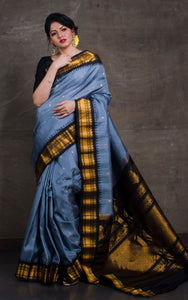 Exclusive Gadwal Silk Saree in Steel Grey and Black