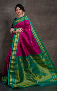 Exclusive Gadwal Silk Saree in Magenta Pink and Seafoam Green