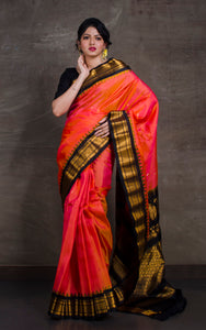 Exclusive Gadwal Silk Saree in Dark Peach and Black