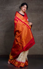 Exclusive Gadwal Seiko Silk Saree in Off White and Red