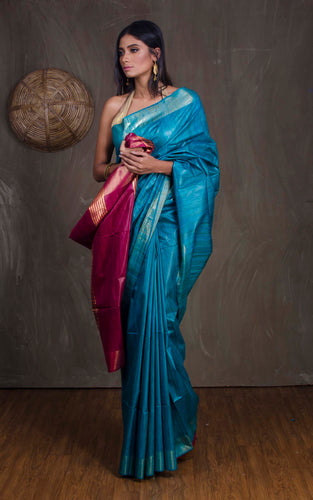 Pure Handloom Gicha Tussar Saree in Cerulean Blue and Burgundy