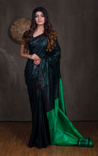 Handloom Staple Gicha Tussar Saree in Blackish and Parakeet Green