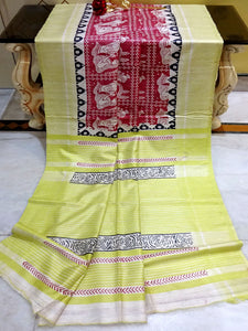 Madhubani Printed Silk Gicha Tussar Saree in Dark Red and Light Green from Bengal Looms India