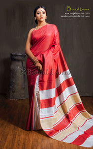 Patli Stripes Tussar Silk Saree in Red and White
