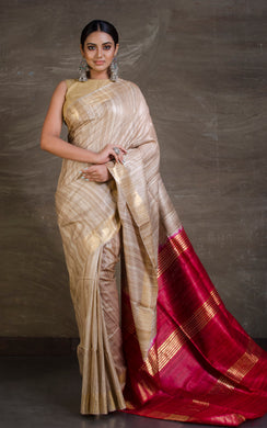 Pure Handloom Gicha Tussar Saree in Beige and Dark Red