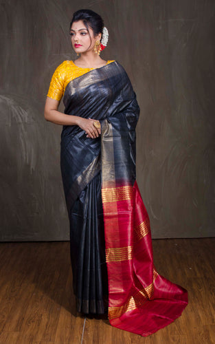 Pure Handloom Gicha Tussar Saree in Lead Black and Dark Red