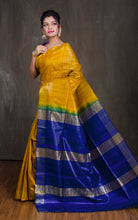 Pure Handloom Gicha Tussar Saree in Yellow and Royal Blue