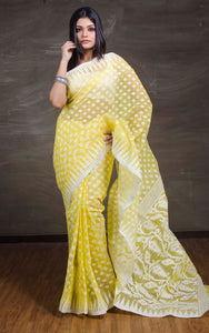 Dhakai Jamdani Saree in Yellow and White - Bengal Looms India