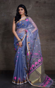 Muslin Jamdani Saree in Light Grey and Multicolored Thread Work
