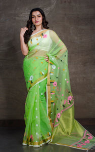 Muslin Jamdani Saree in Lime Green and Multicolored Thread Work